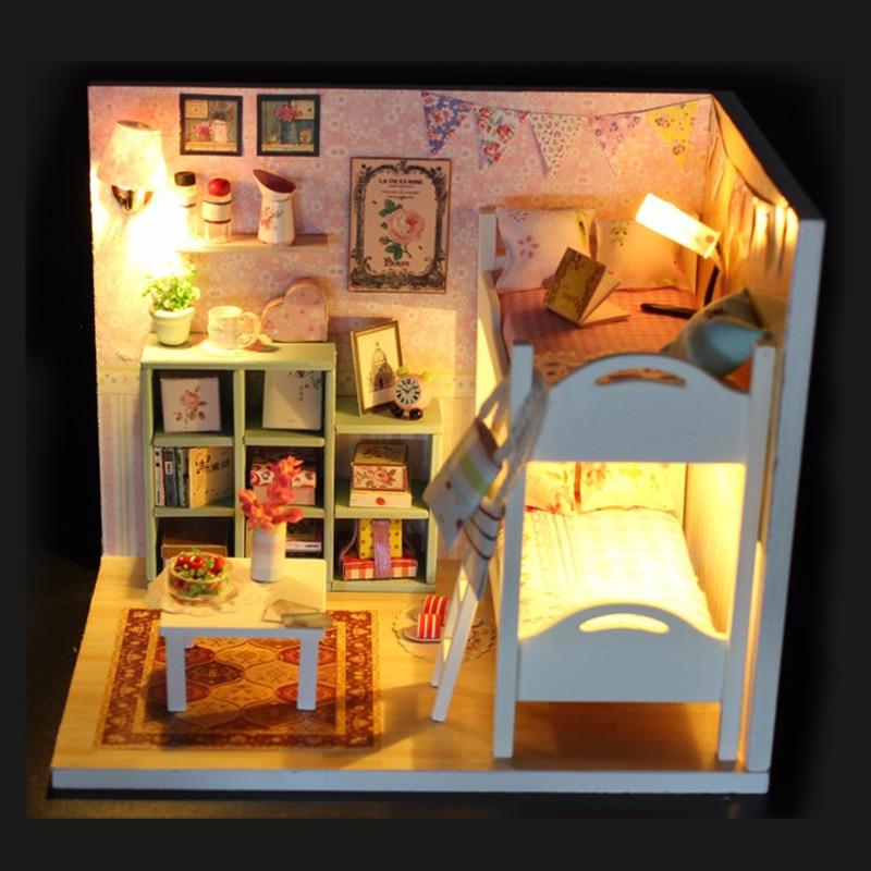 DIY МОДЕЛЬ Миниатюрный Кукольный дом Кукольный домик с мебелью светодиодный 3D деревянный дом игрушки для Детский подарок ручной ремесел M020 # ...