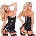 Senhoras Corpete Steampunk Vestido Fetiche Sexy Bustiers Espartilho De Couro com Zipper do PVC Gótico Bustier Cinta Modelagem Dominatrix