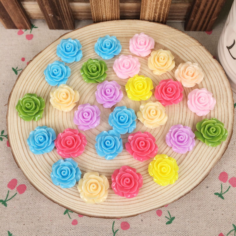 20 Pieces Mixed Color Flatback Flat Back Resin Flower Cabochon Kawaii DIY Resin Craft Decoration Scrapbooking Accessories 20mm