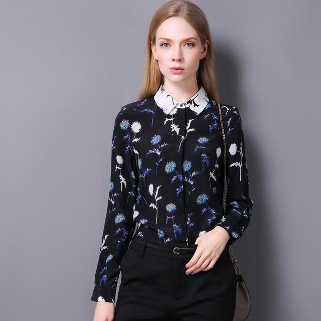 9c4e4d6f9 100% Silk Crepe Shirt Pure Silk Fabric Women Shirt 2017 New Fashion Design  Women Blusas Classic Black White Colors