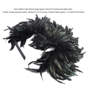 Image 5 - ファッション黒ヴィンテージゴシックビクトリア朝ナチュラルフェザー岬ショールとポンチョケープラップローブはチョーカー襟ハロウィン仮装パーティー