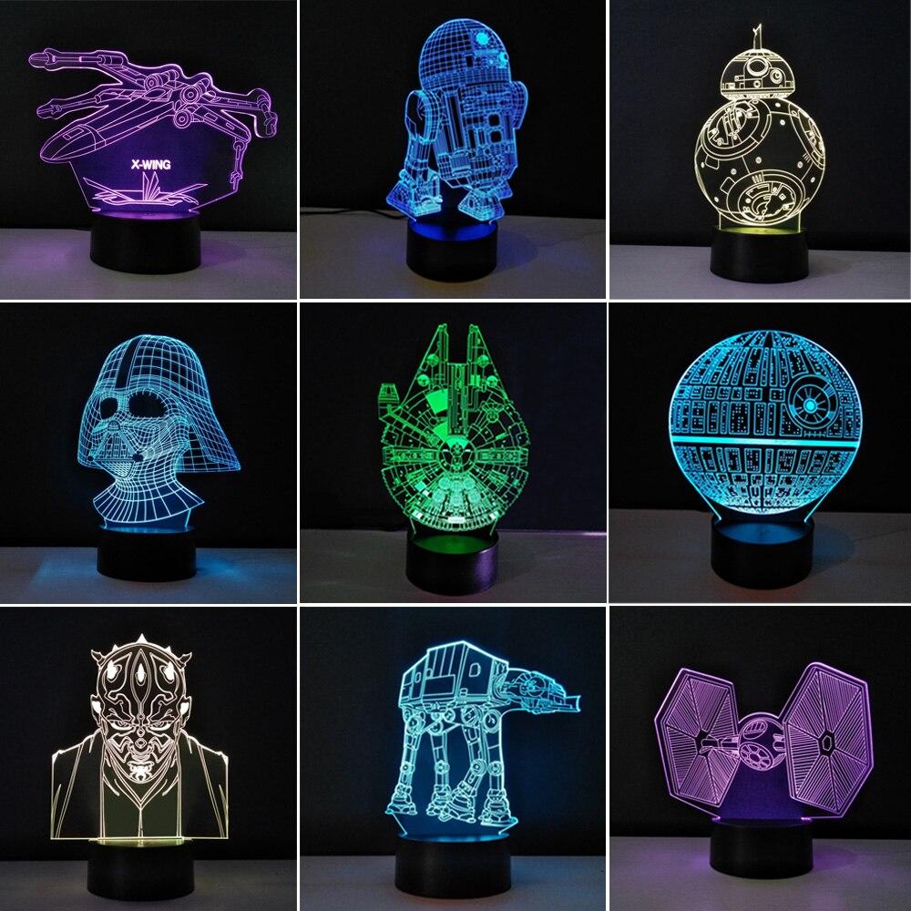 Несколько Звезд войны LED 3D Night Lights Творческий ambient light настольную лампу дома Освещение bulbing Цвет изменить Luminaria подарки для детей