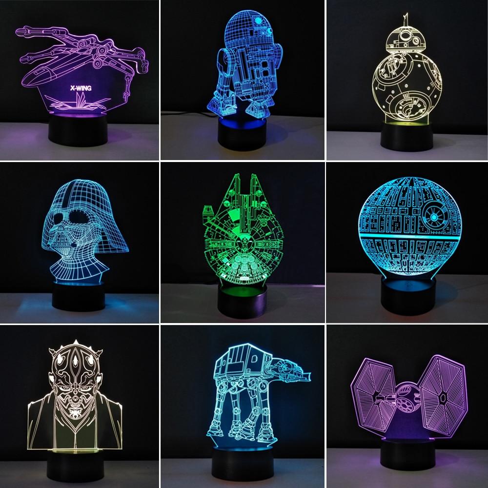 multiple stars wars led 3d night lights creative ambient light desk lamp home lighting bulbing. Black Bedroom Furniture Sets. Home Design Ideas