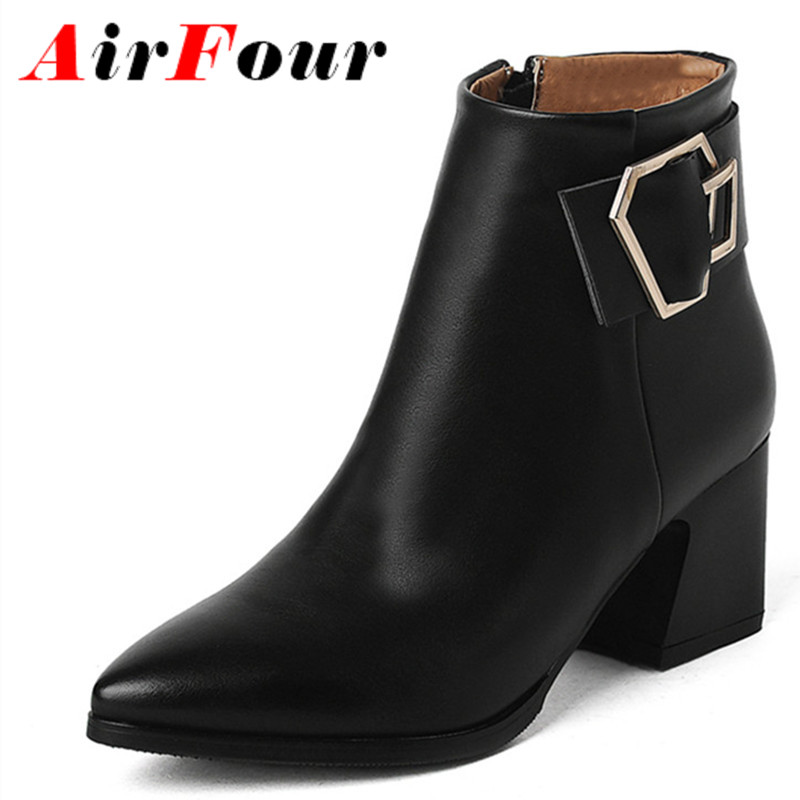 ФОТО Airfour High Heels Ankle Boots for Women Motorcycle Boots Winter Pointed Toe Black Shoes Woman Solid Platform Shoes Size 34-39