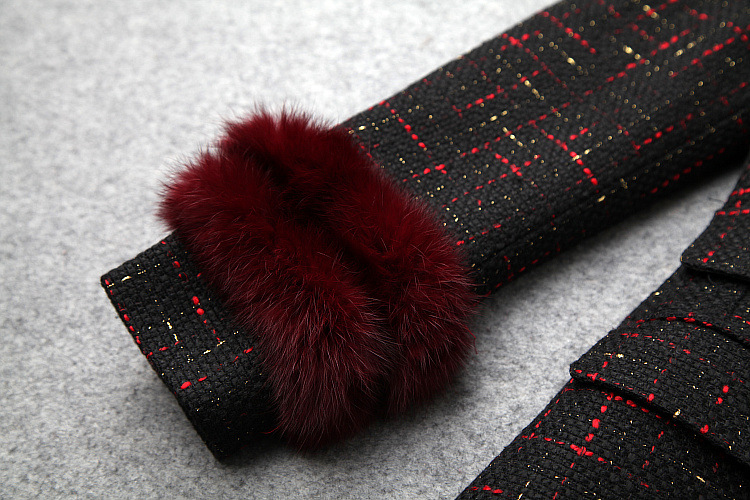 Lapin Américain Manches Boutonnage Cheveux De 2018 Nouvelle Vêtements Manteaux Double Tweed Femmes Longue Et Couture D'hiver Européen À PwS5qCzP