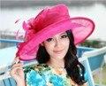 2017 Vestido de Las Señoras Sinamay Iglesia Derby Boda del Cóctel Del Partido de La Vendimia Sol Viseras Boinas Gorra de Ala Ancha Fedora Flor Nueva
