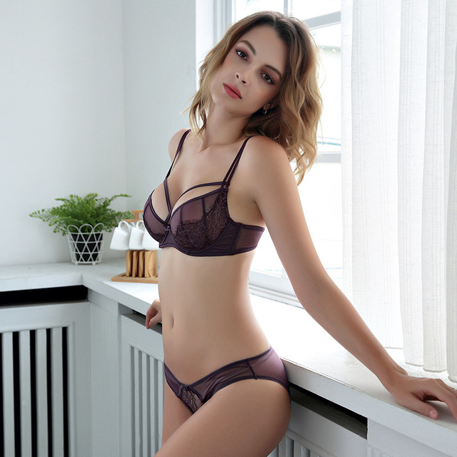 2853d74a77c93 New Green Lingerie Women Transparent Cross Strappy Balcony 3 Part Large Cup  Lace and Mesh Sexy