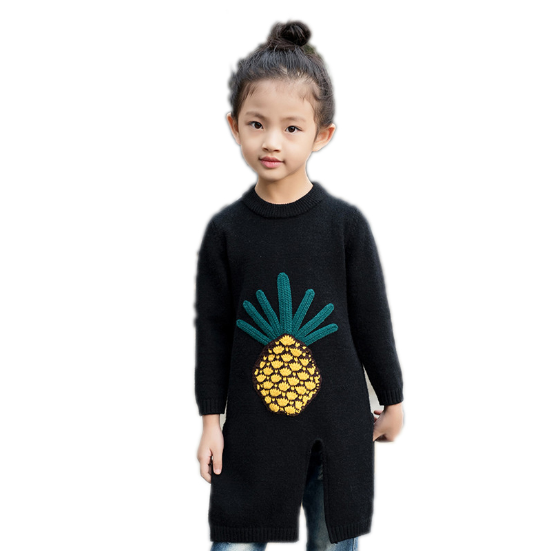 knitted cardigan girls 2018 new autumn fashion knit sweater kid cute pineapple printed winter pullover girls kids pullover 4-11T invisible green simple design pullover knit sweater