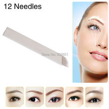 CHUSE Manual Microblading needes S12 Tattoo Pen Needle For Eyebrow Eyeliner Lips Permanent Makeup Tattoos 100pcs 12Pin
