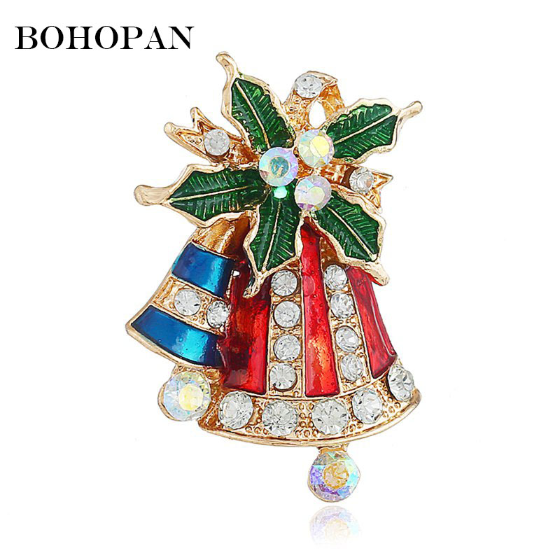 Christmas Brooches And Pins.Us 1 27 46 Off Christmas Brooch Pin Fashion Rhinestone Pins Metal Brooches For Women Cute Bell Charm Crystal Brooches Girl Christmas Gift In