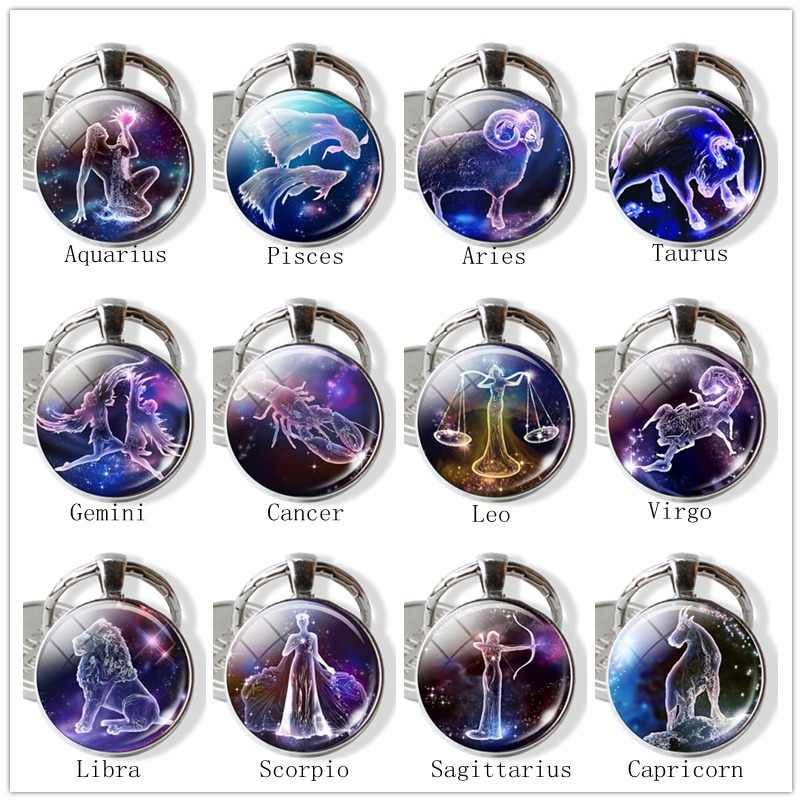 2019 Hot 12 Constellation Keychain Zodiac Signs Glass Cabochon Alloy Metal Keyring Fashion Key Chain Gifts For Friends Birthday