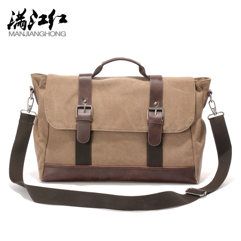 d6bf6f6243 Best buy Squirrel fashion canvas vintage youth men briefcase classic casual  tote crossbody business messenger bag vogue satchels handbag online cheap