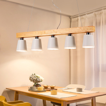 Nordic creative dining table lamp three five E27 study bar balcony chandelier wooden wood dining restaurant chandelier light
