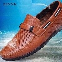Летняя обувь из натуральной кожи; мужские лоферы на плоской подошве; Повседневная дышащая обувь; chaussure homme; мужские мокасины из натуральной к...