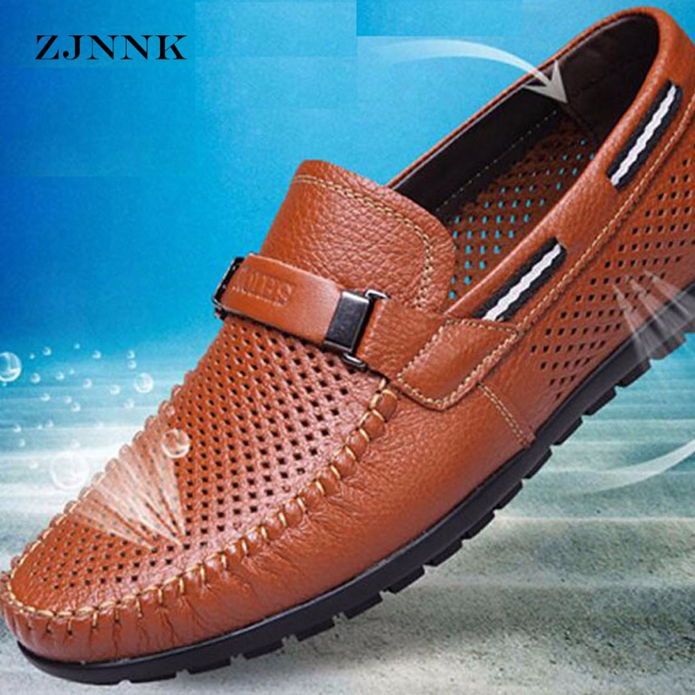 ZJNNK Genuine Leather Summer Shoes Men Flats Loafers Breathable Casual Chaussure Homme Real Leather Driver Men Moccasins Shoes cbjsho brand men shoes 2017 new genuine leather moccasins comfortable men loafers luxury men s flats men casual shoes