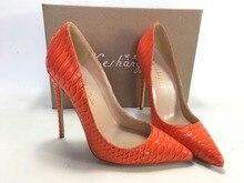 Keshangjia  Fashion PU Leather High Heels Women Pumps Sanke Printing Pointed Toe Work Pump Wedding Shoes