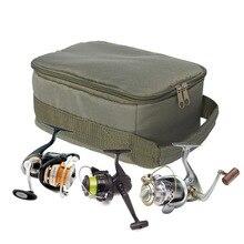 цена на 1pcs 4 Grid Fishing Box Layered New Army Green Fish Line Bait Fish Wheel Bag Fishing Reel Bag Free Shipping