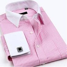 Neue mens Patchwork streifen langarm-shirt hochwertigen Business Französisch manschettenknöpfe Tuxedo kleid shirts baumwolle männlichen bluse shirt