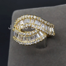 JINYAO Geometric lines two layers yellow gold color inlay AAA Cubic Zircon ring For women fashion design jewelry