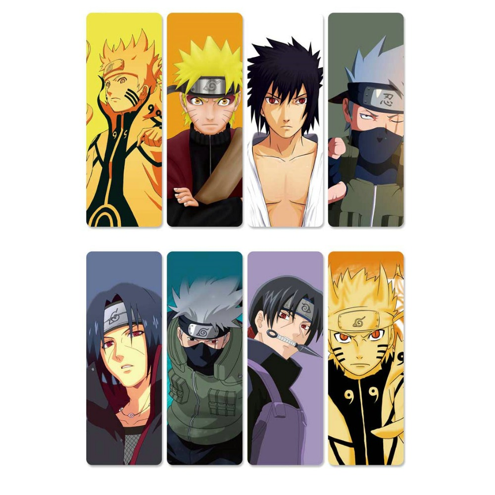 8pcs Naruto Anime Bookmarks Waterproof Transparent PVC Plastic Bookmark Beautiful Book Marks Gift