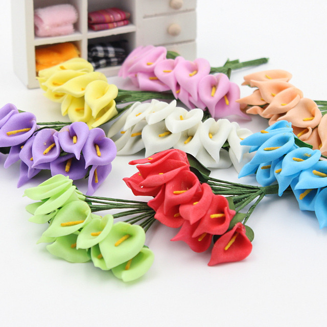 12 pz/lotto Multicolore testa di gomma piuma del PE Calla Lily Bouquet di fiori