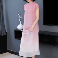 100 Silk Dress High Quality for Women 2019 Summer Sleep Dresses Short Sleeve Pink Floral Print Elegant Vintage Midi Clothing
