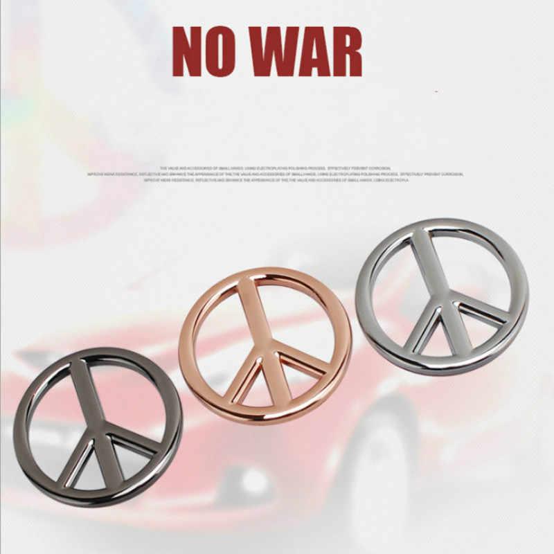 Yeni Barış Işareti Logo Sembolü 50mm Hiçbir Savaş 3D Metal Savaş Karşıtı Motosiklet Araba Oto Rozeti Amblemi Çıkartmalar Çıkartması Araba şekillendirici Aksesuarları