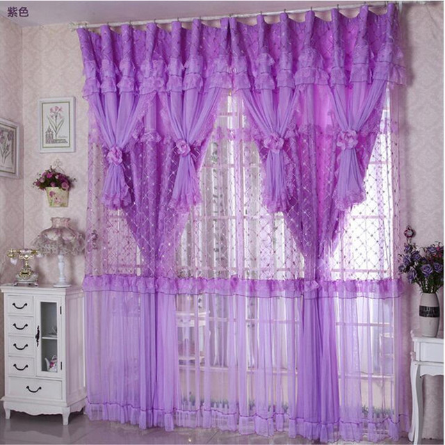 hot sale 3 lays lace luxury curtains for living room girls pinkpurple blackout lace