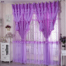 Hot Sale 3 Lays Lace Luxury Curtains For Living Room Girls Pink/Purple Blackout Lace Tulle Curtains For Bedroom