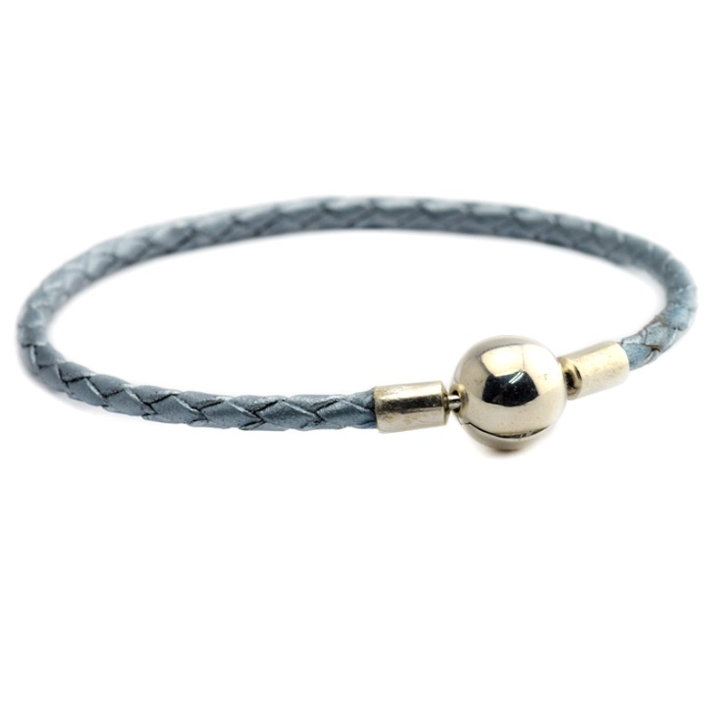 Light Blue Leather Bracelets Argent 925 Sterling Silver ...