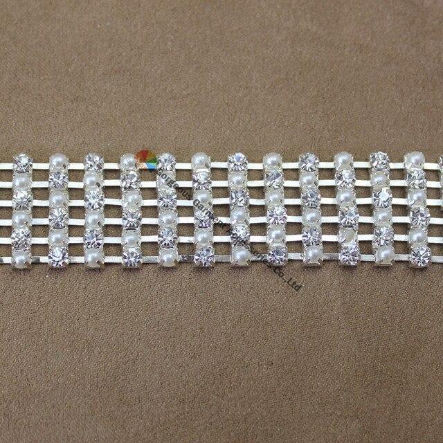 1 yard 2cm Pearl Alternated Crystal Rhinestone Chain Silver Costume  Applique Bride Trims DIY Browbands wedding dress decoration abd76b8d278a