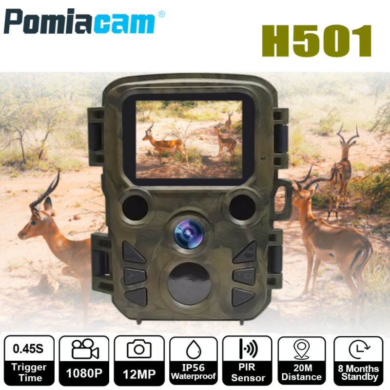 H501 12MP 1080P Mini Trail Photo Trap Hunting Camera Hunting Game Camera Outdoor Wildlife Scouting Camera with PIR Sensor hc 550a scouting hunting camera hc550a hd 1080p 16mp 120 degrees angle pir sensor sight photo trap wildlife cam