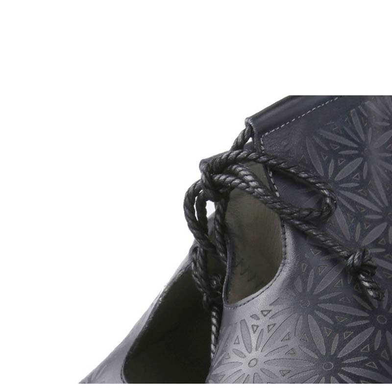 Floral Genuino Loafer Otoño Enfermera Durable Cuero Mujer Slip on Zapatos Black De Pisos Guisantes Antideslizante SwwdY