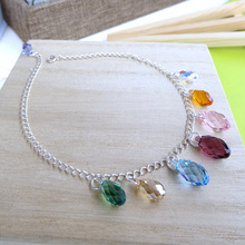 The new Austria imported crystal Anklets popular colorful fortune 925 silver female fashion tassel drop special offer