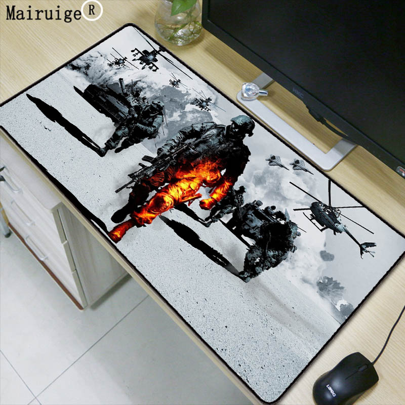 Mairuige Drop Shipping Battlefield Mousepad Large Gaming Rubber Lock Edge Mousepad PC Computer Laptop Optical Mice Play Mat цена и фото