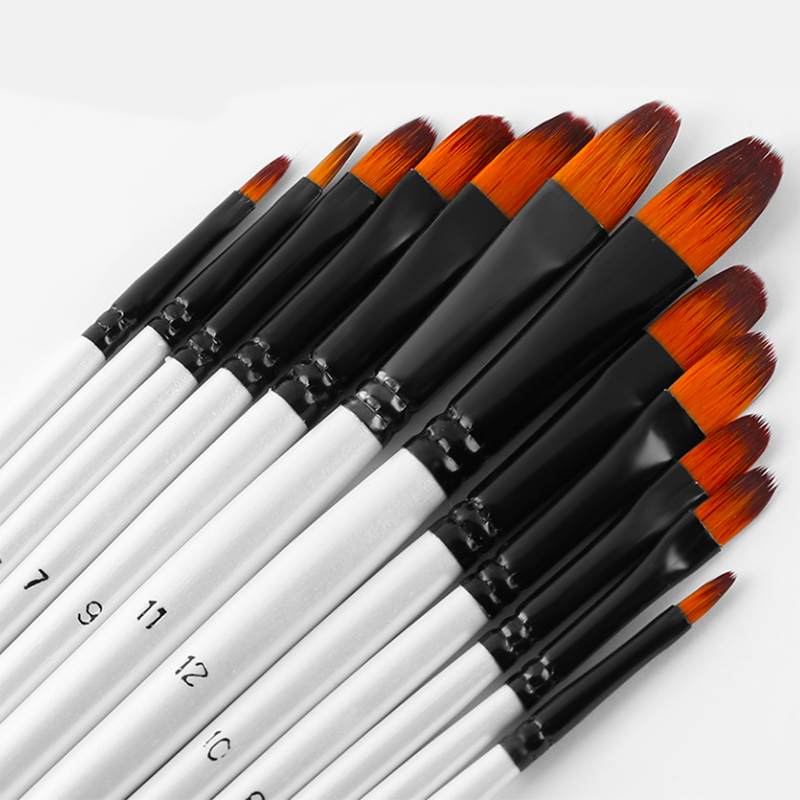 12Pcs Paint Brushes Pen Nylon Hair Watercolor Brush Set Student Children Painter Art Supplies