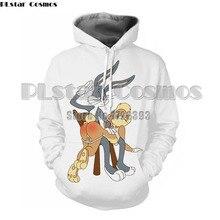 PLstar Cosmos 2018 Men Clothes Men/Women Cartoon Bugs Bunny 3d Print Hoodies Hooded Sweatshirt Unisex Funny Streetwear Hoodie