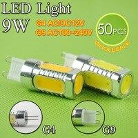 50pcs Aluminum G4 LED Light G9 COB LED Lamp 9W AC12V ACDC 220V Crystal Corn Bulb