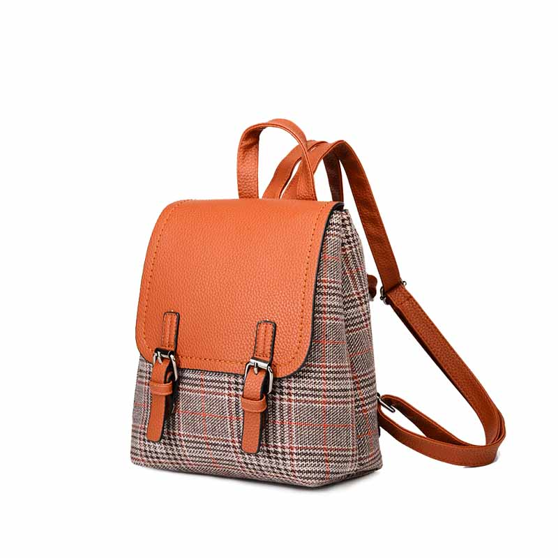 2018 new backpack fashion casual wild college wind women's backpack plaid striped student backpack цена 2017