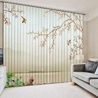 Classic Home Decor Flower Bird Custom Curtain