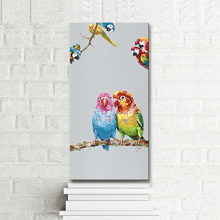 Pure  100% Hand Painted Oil Painting Cute Animals Frameless Animal Art Canvas Wall Decor Artwork For love Birds
