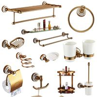 Antique Bronze Bathroom Hardware Set Space Aluminum Porcelain Bath Accessories Brush Finished Bathroom Products io4