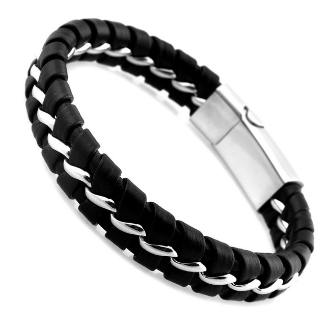Black Leather Knitted Bracelet With Silver Or Gold Knitting And Magnetic Clasp