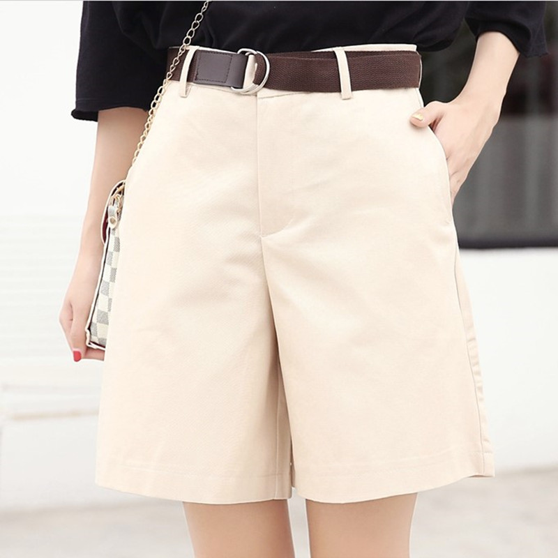 Half Long Women's Cotton   Short     Shorts   Summer Slim Hot Casual   Shorts   Girls Military Cotton   Shorts   4 Colors Plus Size Female