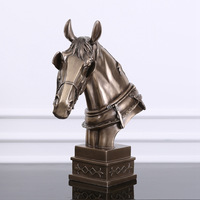 New American Horses Racing Head Statue Bust Resin+Copper Creative Art Craft Animal Art Sketch Teaching Furnishing Articles L1761