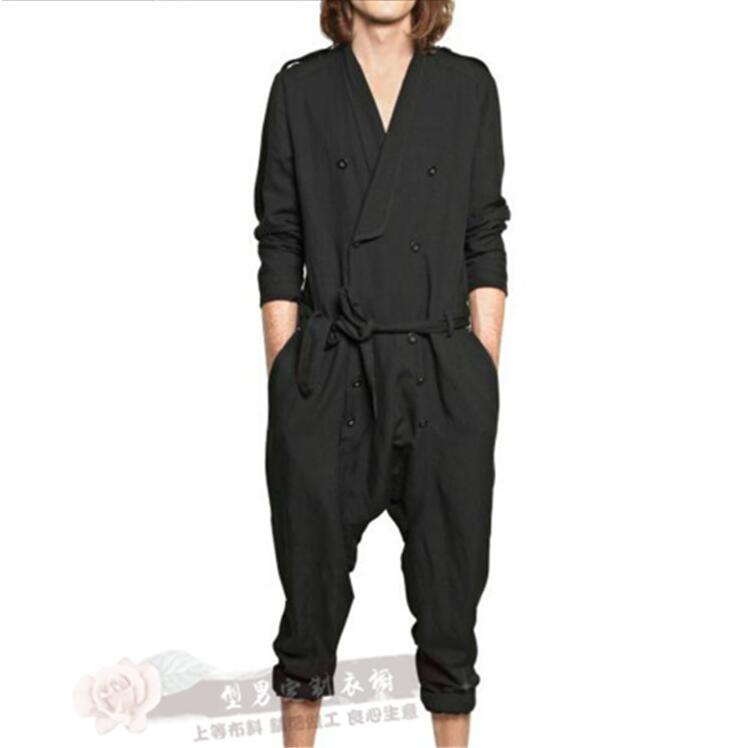 Casual jumpsuit loose jumpsuit spring and summer tide men's jumpsuit men's pants hair stylist jumpsuit trousers
