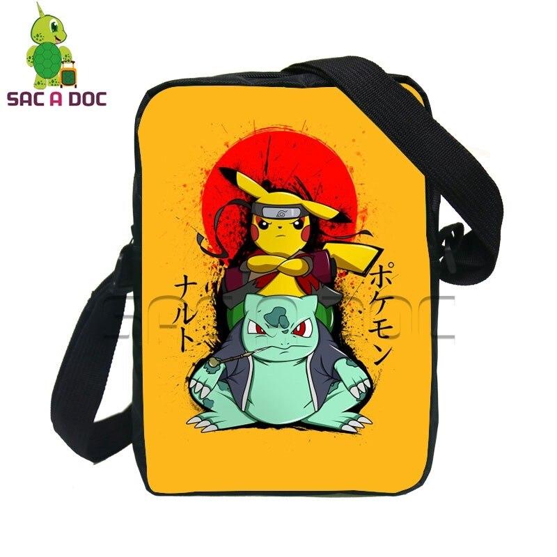 b6ef4ea92085 US $11.05 35% OFF Chibi Pikachu Bulbasaur Naruto Cosplay Mini Messenger Bag  Anime Pokemon Naruto School Bags for Kids Boys Girls Crossbody Bag on ...