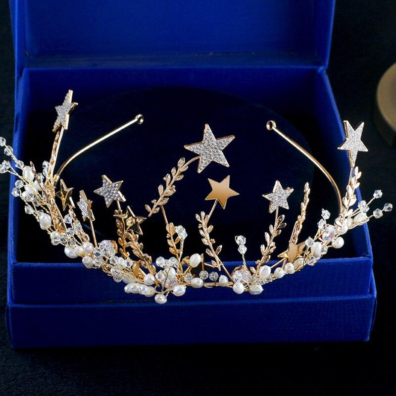 Мода звезда Золотой розово-красный Корона со стразами, украшение на голову невест Свадебные украшения для волос оптом