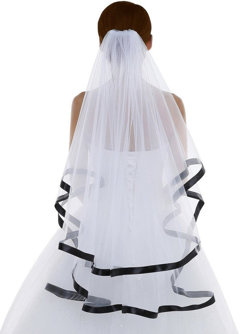 White Short Wedding Veil With Black Ribbon Edge Ivory Veils Comb 2 Layer Bridal Accessories Women Veu De Novia In From