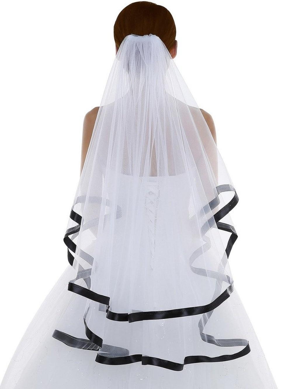 White Short Wedding Veil With Black Ribbon Edge Ivory